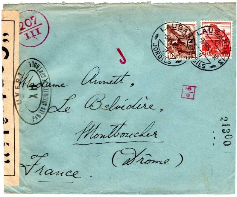 La censure italienne d'occupation en France  après l'invasion de la zone libre à CHAMBERY 1943_CHAM02a