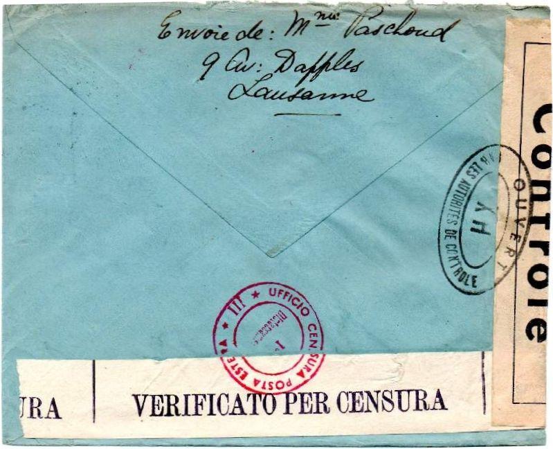 La censure italienne d'occupation en France  après l'invasion de la zone libre à CHAMBERY 1943_CHAM02b