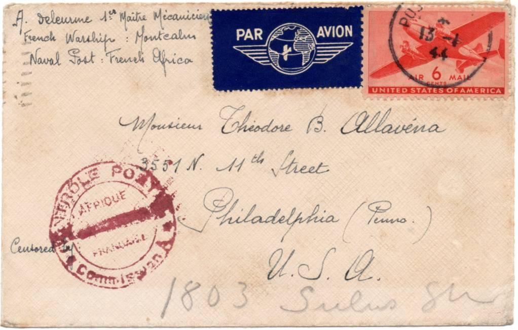 Les censures des colonies françaises, occupations et administrations pendant la deuxième guerre mondiale 1944_naval_Montcalm_AOF_01a